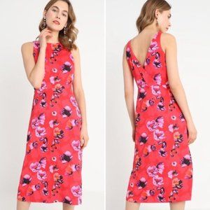 Banana Republic Red Poppy Floral Midi Dress Size 4